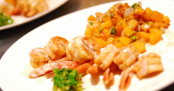 Curry-Dusted Shrimp with Squash Choka
