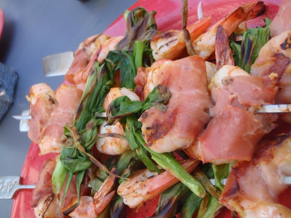 Shrimp, Proscuitto, and Scallion Spiedini