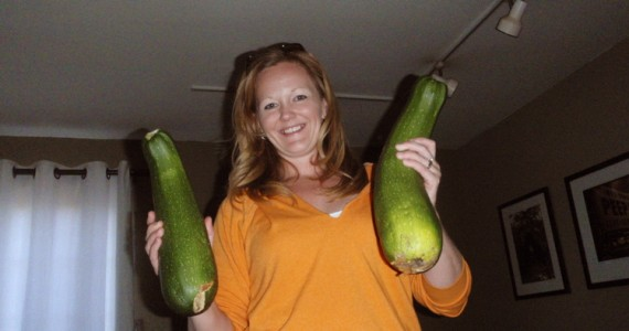 Two of the larger zucchini from my garden