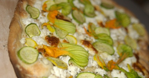 Pizza with Zucchini, Squash, and Blossoms