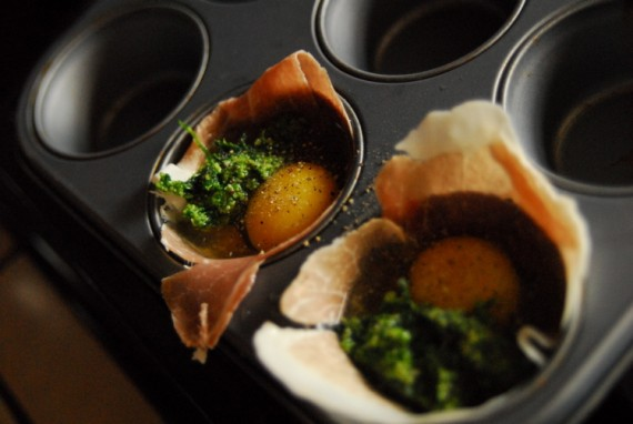 Egg Cups with Pesto