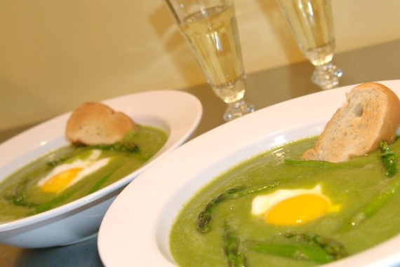 Asparagus Soup with Fried Egg