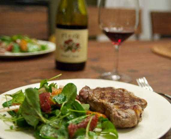 Steak with Blood Orange & Watercress Salad