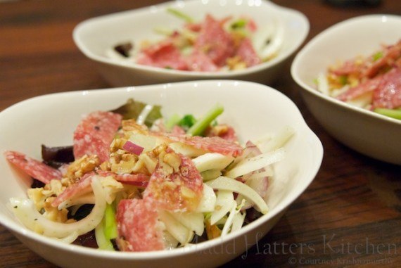 Shaved fennel, red onion and celery salad with salami