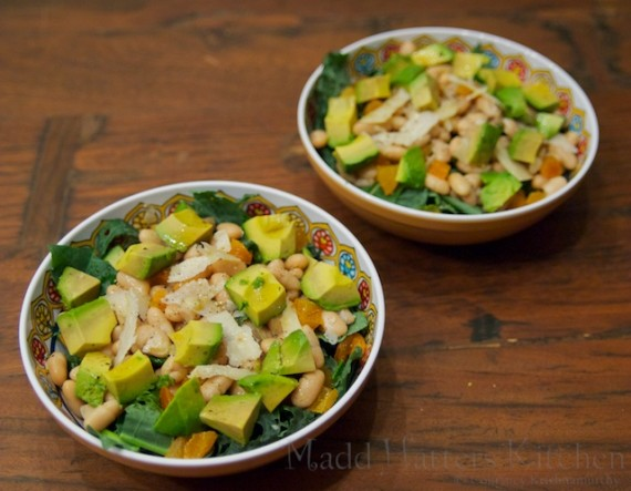 Kale Salad with Avocado, Apricots, and Cannellini