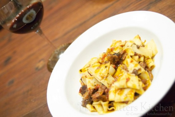 Wild Boar Pappardelle with Brunello