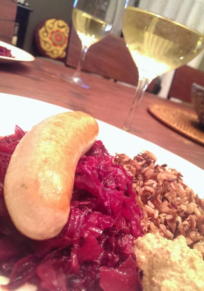 Bockwurst, red cabbage, and cuvee blanc